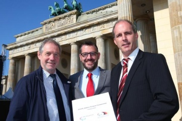 """NPC Germany's Dr. Karl Quade with the IPC's Ryan Montgomery and Klaas Brose, Director """"Behinderten-und Rehabilitations- Sportverband Berlin, at the announcement of Berlin as host city of the 2018 European Para Athletics Championships. © • Marcus Hartmann - Photography"""