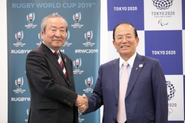 Akira Shimazu, CEO, Rugby World Cup 2019 Organising Committee and Toshiro Muto, CEO, Tokyo 2020