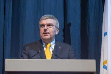 IOC President Thomas Bach speaking at the Opening Ceremony of the 128th IOC Session