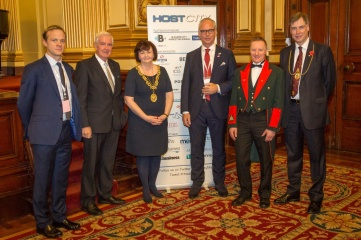 Host City 2016's return to Glasgow was announced at Host City 2015. From left: Cavendish Group CEO, Matthew Astill; IOC Vice President, Sir Craig Reedie; The Rt Hon The Lord Provost of Glasgow, Councillor Sadie Docherty; Cavendish Group Chairman, Koos Tesselaar; John McArthur, Civic Officer, Glasgow City Council; and John F MacLeod, Lord Dean of Guild of the Merchants House of Glasgow
