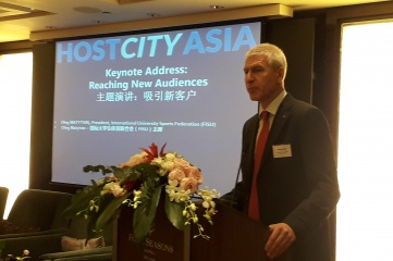 Oleg Matytsin, President of FISU speaking at Host City Asia in Beijing (Photo: Host City)