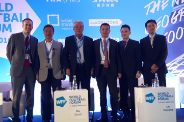 Left to right: Mark Dreyer, founder, China Sports Insider; Zhang Xing, Deputy Controller of CCTV Sports; Ma Guoli, Deputy Chairman of LeSports; Cai Yanjiang, Director ABU Sports, Asia-Pacific Broadcasting Union; Wang Dong, Vice President of Alisports; Feng Tao, Shenkhai Sports