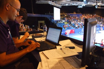 Press tribune at Glasgow 2014, where Infostrada delivered all historical results and records, athlete biographies and a cutting-edge statistical service
