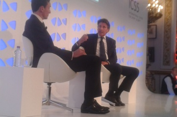 Sebastian Coe (right) with David Bond at Securing Sport 2014