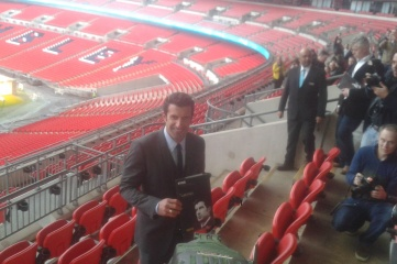 """Luis Figo launched his manifesto at Wembley Stadium in the """"global city"""" of London"""