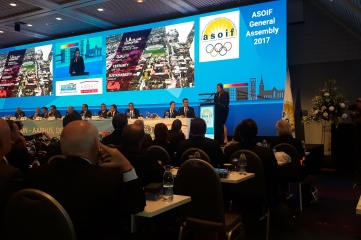 LA 2024's Angela Ruggiero presenting during the ASOIF General Assembly during SportAccord Convention in Aarhus