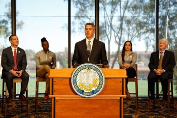 "LA 2024 Chairman Casey Wasserman said: ""We are fortunate to have the support of two outstanding universities as we look to help the IOC reinvent and reimagine the Olympic experience for everyone."" (Photo: Reed Hutchinson/UCLA)"