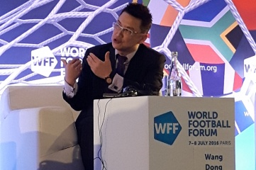 Wang Dong, Vice President of Alisports, speaking at World Football Forum