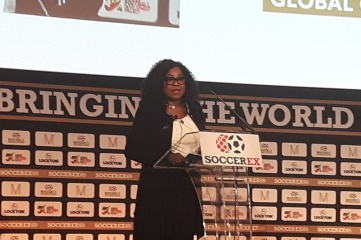 FIFA Secretary General Fatma Samoura speaking at Soccerex Global Convention (Photo: Host City)