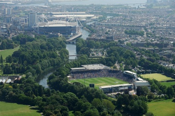Aerial view of the Cardiff Wales cricket ground during the ICC Champions Trophy cricket match between India and South Africa, with the Millennium Stadium to the rear