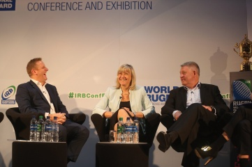 Happy days: Alan Gilpin, Debbie Jevans and Steve Tew enjoy sharing experiences of organising the Rugby World Cup