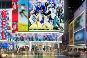 Cirque du Soleil has developed with NFL a four-storey series of exhibits in Times Square, New York