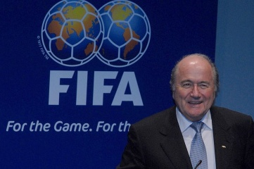 Sepp Blatter at the announcement of Brazil as host of the 2014 World Cup