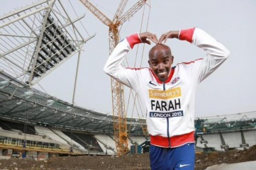 Mo Farah at the launch of the 2015 Sainsbury's Anniversary Games in the former Olympic Stadium (Photo: Mo Farah, via Twitter)