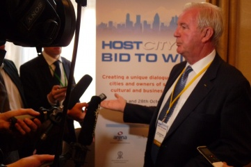 Sir Craig Reedie speaking to international media at the inaugural HOST CITY conference in October 2014