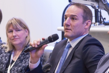 David Grevemberg (right), CEO of the Commonwealth Games Federation speaking at HOST CITY 2015 with Bridget McConnell, Chief Executive of Glasgow Life (left)