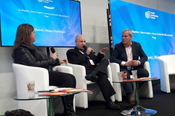 L-R: Liz Madden, Harvey Goldsmith and Simon Hughes at the Event Production Show in London (Photo: Host City)