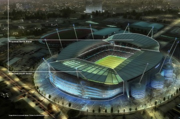 The South Stand will be completed in time for the 2015 Rugby World Cup, with the North Stand following after the event (Photo: Manchester City FC)