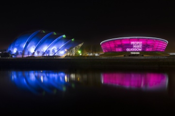 The SSE Hydro is lit up in the colour of the city's PEOPLE MAKE GLASGOW brand to celebrate Glasgow City Marketing Bureau's 10th birthday.