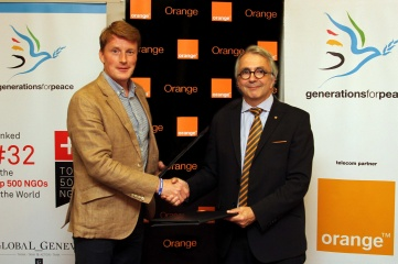 Generations For Peace CEO, Mark Clark and Mr Jean-Francois Thomas, Group Chief Executive Officer of Orange Jordan