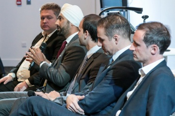 Speaking at Host City 2016 (L-R): Marc Webber of audioBoom; Kulveer Ranger of Atos; Itay Ingber of MatchVision; David Grevemberg OBE of the CGF; and Julien Ternisien of the EBU