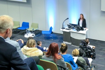 Aileen Crawford, Head of Conventions at Glasgow Convention Bureau, speaking at Host City 2018 at Glasgow's Technology & Innovation Centre (Photo: Host City)