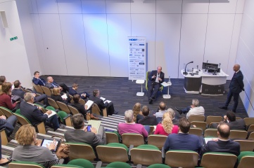"""Paul Bush OBE chairing the """"City to City"""" session at Host City 2015"""