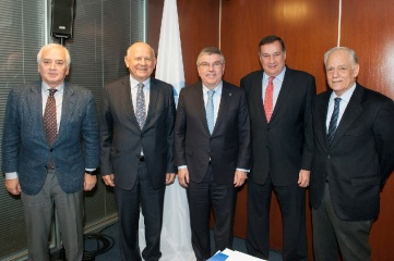IOC President Thomas Bach flanked by Janez Kocijančič (near left), Raffaele Pagnozzi (far left), Spyros Capralos (near right) and Kikis Lazarides (far right)