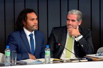 Football star and UEFA Global Ambassador Christian Karembeu and Emanuel Medeiros of ICSS Europe