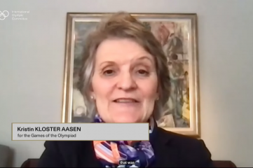 IOC Member Kristin Kloster Aasen is speaking at Host City 2021 (Photo Source: IOC Media YouTube channel)