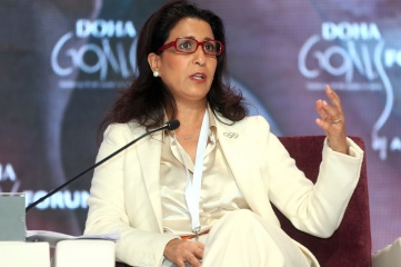 IOC Member Nawal El Moutawakel speaking during the Doha Goals Forum in 2012 (Picture by Mohan)