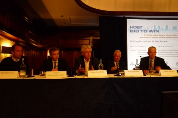 Left to Right: FIFA's Alexander Koch; ITU's Antonio Fernandez Arimany; Swedish NOC's Stefan Lindeberg; Sir Craig Reedie; Callum Murray