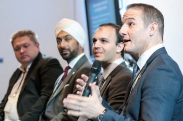 Pictured speaking at Host City 2016 (right to left): David Grevemberg, CEO of the Commonwealth Games Federation; Itay Ingber of Matchvision; Kulveer Ranger of Atos; and Marc Webber of audioBoom