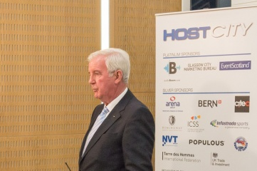 WADA President Sir Craig Reedie speaking to broadcast media at HOST CITY 2015 conference and exhibition