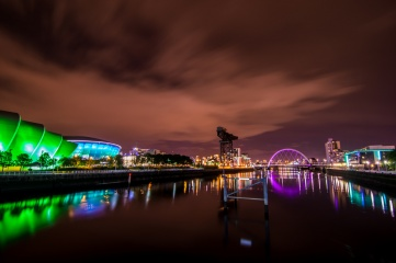 The SSE Hydro (lit up in blue) in Glasgow, operated by AEG Europe, plays host to national and international music mega stars, as well as family entertainment and sporting events