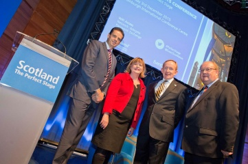 Scotland's National Events Conference (L to R Brendan McClements, Fiona Hyslop MSP, Mike Cantlay OBE, Paul Bush OBE)