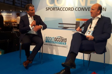 IAAF president Lord Sebastian Coe (left) in conversation with David Eades at SportAccord Convention