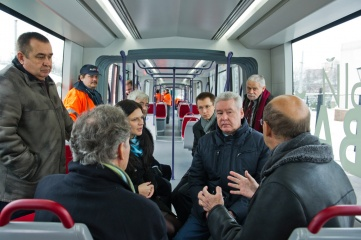 Moscow's Mayor Sergei Sobyanin visiting a tramway depot in Moscow (Photo: RIA Novosti, under Creative Commons: http://bit.ly/1lZG61x)
