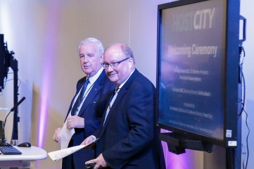 Sir Craig Reedie CBE and Paul Bush OBE at Host City 2017. Photo credit: Host City