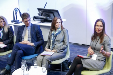 IAEH Chair Susan Sawbridge (on the right) pictured speaking at Host City with (L-R) Eva Szanto, CEO, FINA World Championships, IAEH Director Iain Edmondson, and Tracy Bury, World Confederation for Physical Therapy