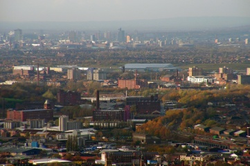 The Expo site would be in Tameside, pictured here with Manchester city centre in the background (Photo: Ian Roberts)