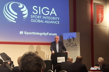 Svein Arne Hansen speaking at the Sport Integrity Forum in London on 30 January 2017