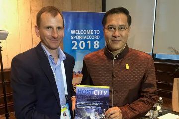 Ben Avison (left) and Thailand's Sports and Culture Minister Weerasak Kowsurat at SportAccord (Photo: Host City)