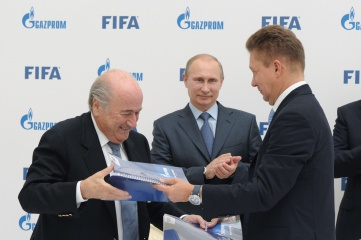 FIFA president Blatter and president Putin pictured with Alexey Miller of Gazprom in Sochi