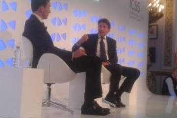 Lord Coe (right) speaking at Securing Sport in October 2014