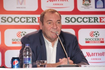 Duncan Revie, CEO of Soccerex, pictured at a press conference in Jordan in March