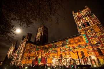 The best cathedral on Planet Earth, as Bill Bryson described it, illuminated during Lumiere