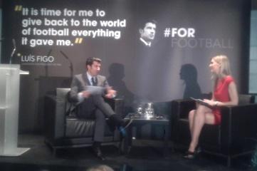 Luis Figo speaking at the launch  of his manifesto at Wembley Stadium last week