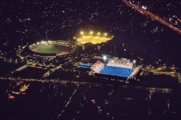 Kalinga Stadium in Bhubaneswar, Odisha, India has facilities for athletics, soccer, field hockey, basketball, tennis, table tennis basketball, volleyball, climbing and swimming (Photo: Odisha Ministry of Sports)