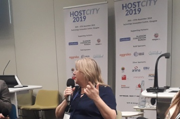 Katie Sadleir speaking at Host City 2019. The world's largest meeting of cities and sports, business and cultural events returns to Glasgow on 7-8 December 2021